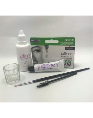 Julienne - Eyelash Eyebrow Tint Dye Dark Brown - 4 Pieces Kit