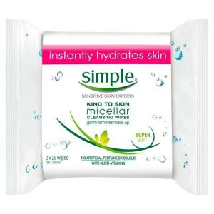 Simple - Kind To Skin - Micellar Cleansing Wipes Twin Pack - 2 x 25 Wipes